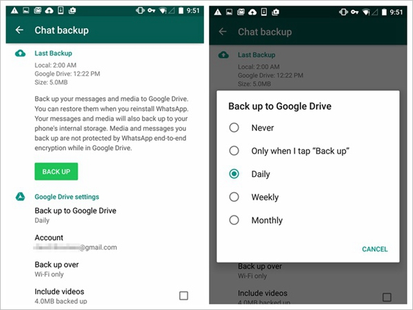 Backup Whatsapp to Google Account
