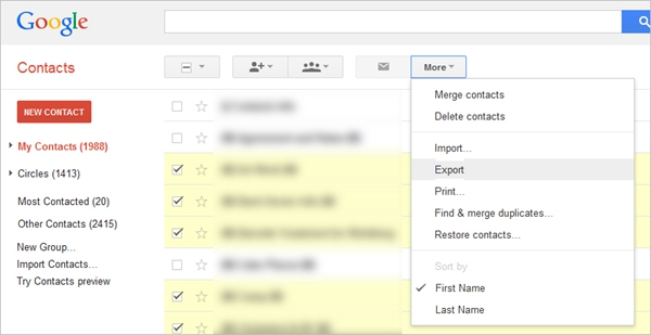 Google Contacts Export2