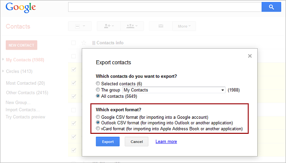 Google Contacts Export4