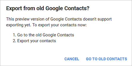 Google Contacts Warn