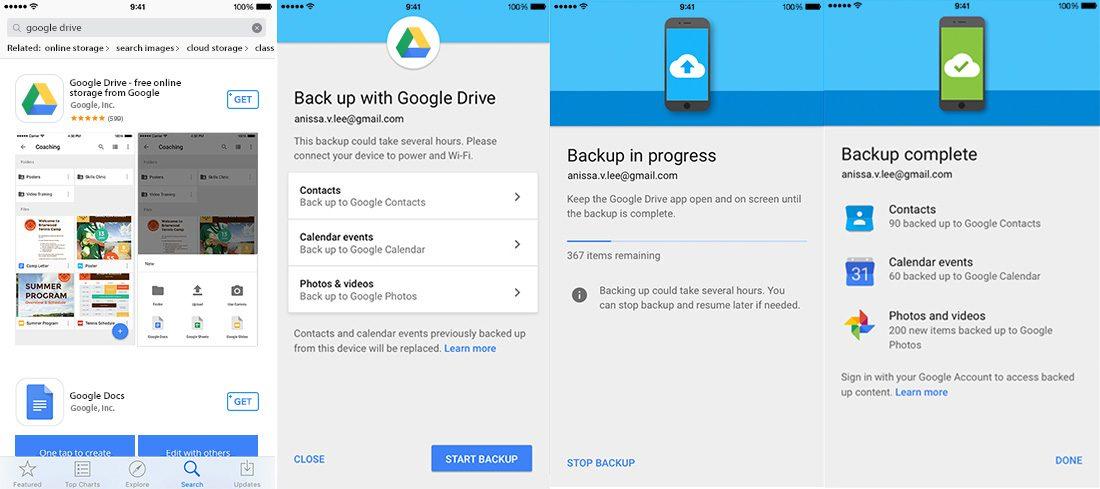 Google Drive iOS Backup