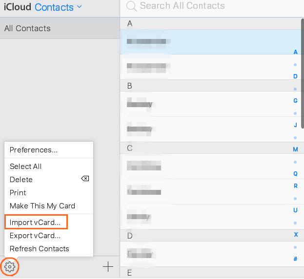 iCloud import contacts
