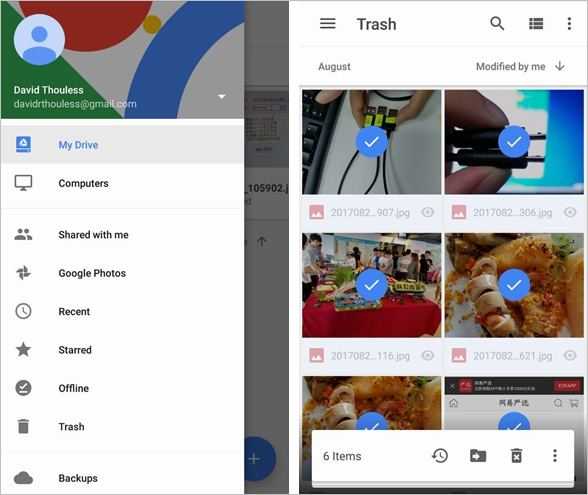 How to restore deleted photos from google drive