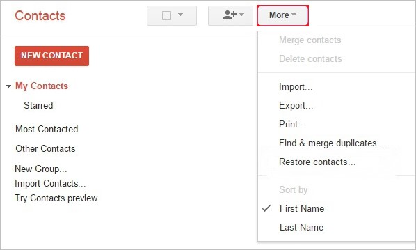 Restore Contacts from Gmail
