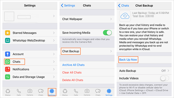 Whatsapp Back up Chats by iCloud