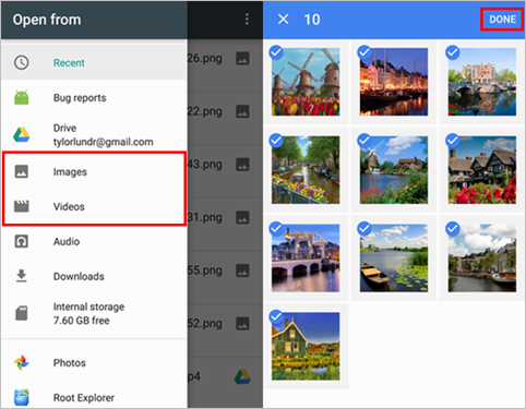 Google Drive Android Select Photos