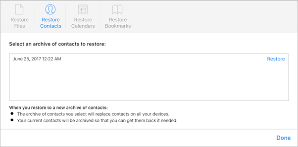 iCloud Advanced Restore Contacts