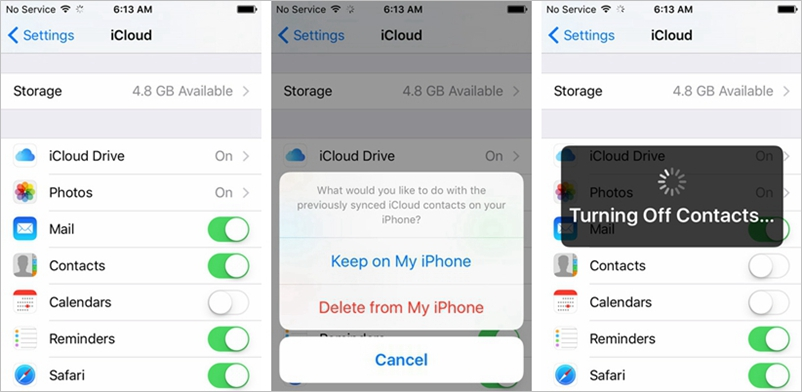 iCloud Contact Sync Turn Off