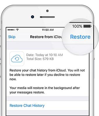 iPhone Whatsapp Restore Chat Backup