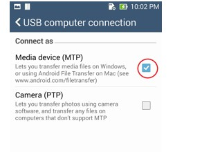 Enable Media Device MTP