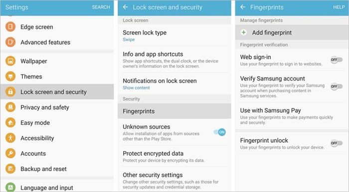 Samsung Add Fingerprint