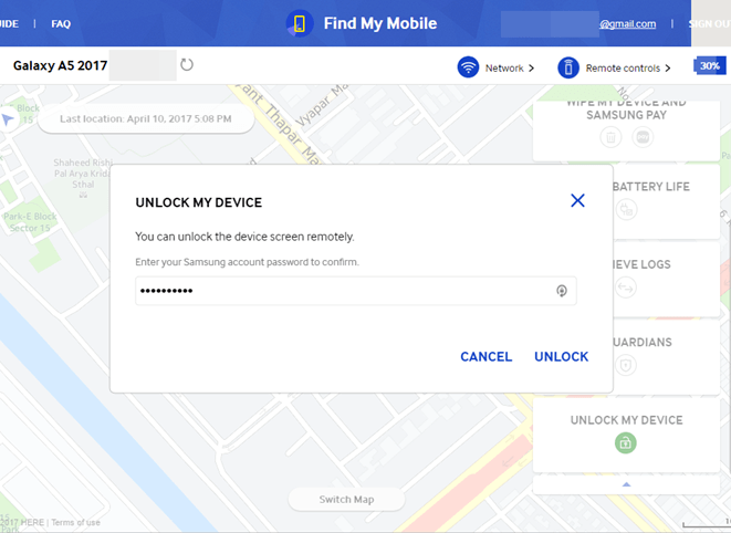 Samsung Find my Mobile Unlock
