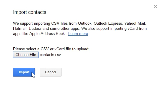 Google Import Contacts