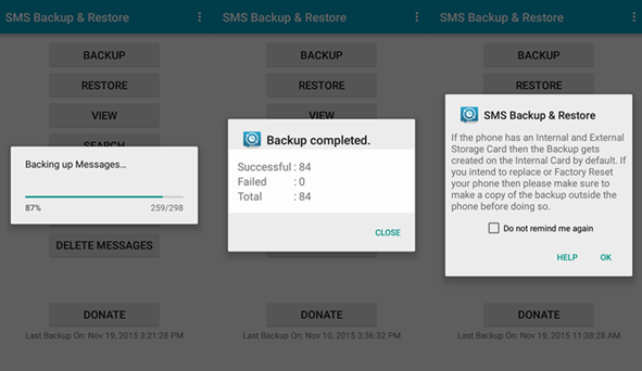SMS Backup Restore Backing up