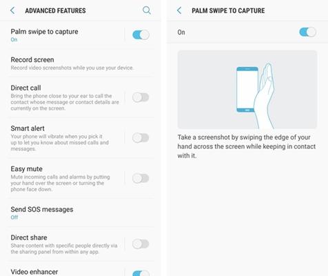 Samsung Palm Swipe Screenshot