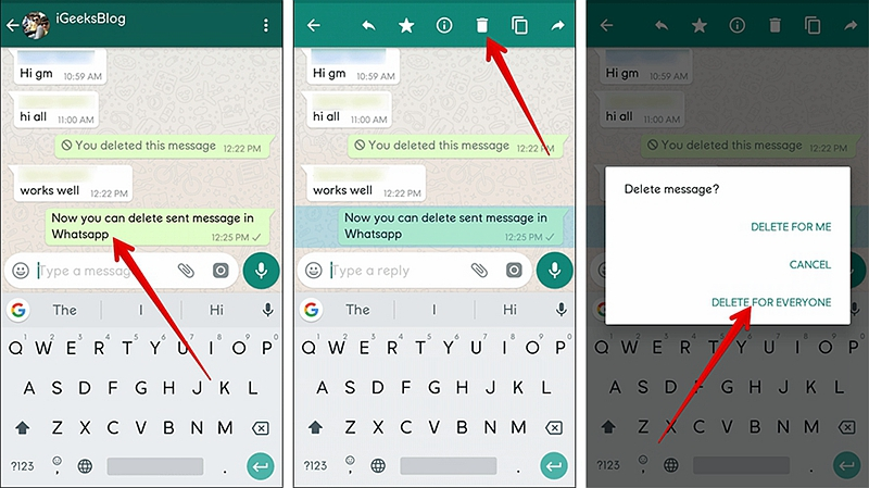 Android Delete Sent WhatsApp Message