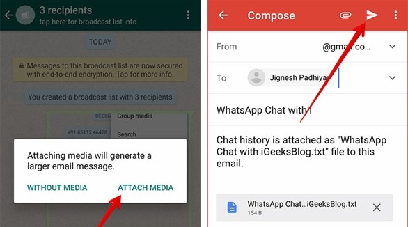 Email WhatsApp Chat Android 3