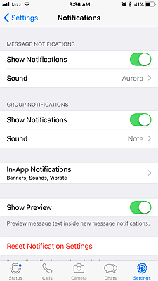 WhatsApp Hide Preview iPhone