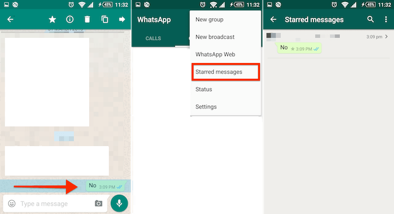 WhatsApp Star Message Android