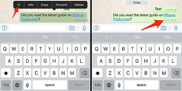 WhatsApp Star Message iPhone