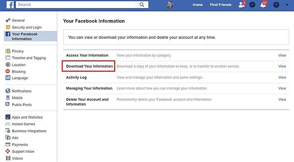Dowload Facebook Data 2