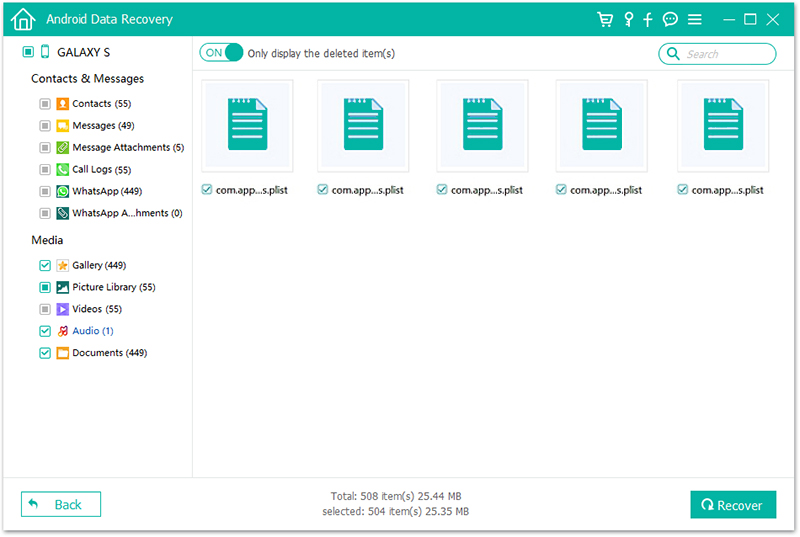FL Android Data Recovery Result Files