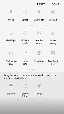 Samsung Quick Setting Panel 3